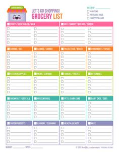 Free Printable grocery list.  This is great!