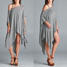 The AINSLEY poncho tunic top - STRIPES ️HPx2Very loose fit, round neck, short sleeve poncho style tunic. This poncho tunic is made with medium weight stripe jersey that is soft and drapes well. ONE SIZE - Fits S - XL Fabric:	96% Rayon, 4% Spandex Made In:	U.S.A. ‼️ALSO ️AVAILABLE IN IVORY‼️ ️NO ️TRADE, PRICE FIRM‼️ Tops Tunics