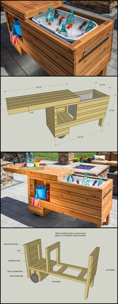 Take your outdoor entertaining up a notch with this rolling serving center. It holds a cooler plus offers shelf space for other items. The sliding top covers everything up when not in use, and it can still be used when open. Made from cedar, this project