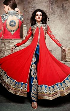 Picture of Ethnic Red Color Designer Anarkali Suit
