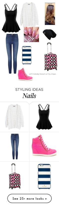 """""""Getting Ready To Leave!!! <3"""" by agg-72104 on Polyvore featuring Doublju, Frame Denim, Violeta by Mango, Kate Spade, Rockland Luggage and Grotesk"""