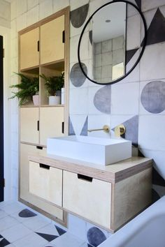 The Monochrome Family Bathroom - Final Reveal - by Making Spaces Birch plywood bathroom vanity and s Bathroom Cupboards, Bathroom Fixtures, Bathroom Storage, Bathroom Vanities, Bathroom Plumbing, Bathroom Countertops, Plumbing Pipe, Modern Bathroom Design, Bathroom Interior Design