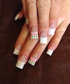 Valentine heart flower nail art