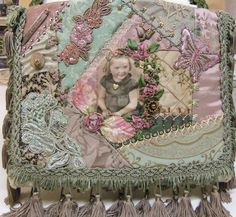 Crazy quilt iPad case by Pat Winter using Jan Obertein's childhood photo. Gift.