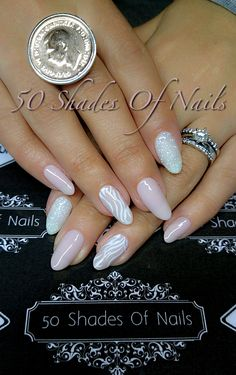 Bio Sculpture Gel | nude | white | glitter | stamp | Von treskow ring Bride Nails, Wedding Nails, Winter Nail Designs, Nail Art Designs, Bio Sculpture Gel Nails, Gel Nail Tips, Gel Nails At Home, White Polish, Long Lashes