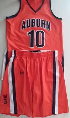 Womens Auburn Basketball Jersey /Short Set Large Under Armour Authentic Orange #UnderArmour #jerseyandshorts