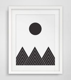 black and white geometric mountains - Google Search