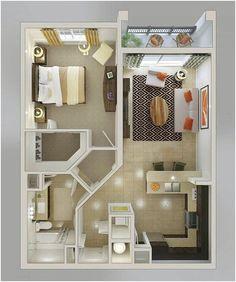Denah Rumah Sederhana 1 Kamar Tidur Besar Terbaru 3D