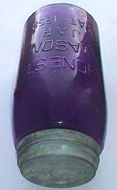 antique mason jars 1858 | ... Quart Size Deep Purple Honest Mason 1858 Antique Fruit Jar |
