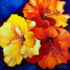 Oil painting - HIBISCUS TRIO