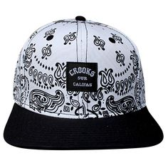 Crooks & Castles Bandana Men's Woven Snapback Cap White