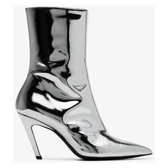 Balenciaga Talon Mirror 80 Ankle Boots ($930) ❤ liked on Polyvore featuring shoes, boots, ankle booties, metallic, genuine leather boots, short leather boots, metallic silver ankle boots, bootie boots and ankle boots