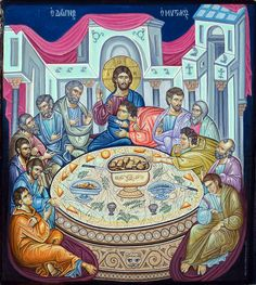 """Aristides Milakis """"The Last Supper"""" (Icon on wood, Baptism Of Christ, Jesus Christ, Byzantine Icons, Eucharist, Last Supper, Catholic Art, Art Icon, Religious Icons, Believe In God"""