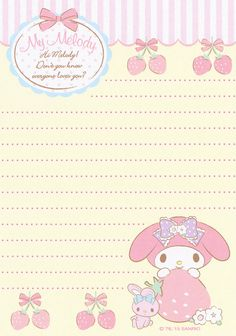My Melody - Papel de Carta - Writing Paper - Letter Paper - Free Printables - Stationery My Melody Wallpaper, Sanrio Wallpaper, Kawaii Stationery, Stationery Paper, Memo Notepad, Hello Kitty My Melody, Pen Pal Letters, Printable Scrapbook Paper, Cute Notes