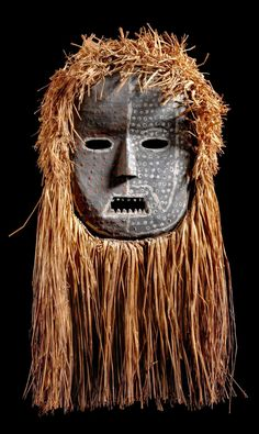 Africa | Mask from the Ituri people of DR Congo | Wood, animal skin, polychrome paint and plant fiber