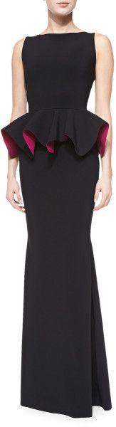 La Petite Robe Di Chiara Boni Eden Bicolor Peplum Mermaid Gown in Black (blk fscha 3760028) - Lyst   jaglady