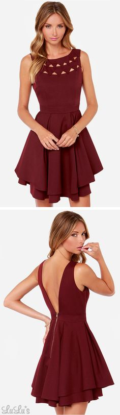 LULUS Exclusive Flirting With Danger Cutout Burgundy Dress