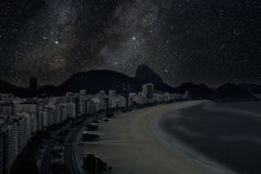 Stunning Photos of Cities Without Light Pollution © Thierry Cohen, Rio De Janeiro S City Sky, Dark City, Beach Landscape, Landscape Lighting, Thierry Cohen, Recherche Photo, Night On Earth, Concours Photo, Light Pollution