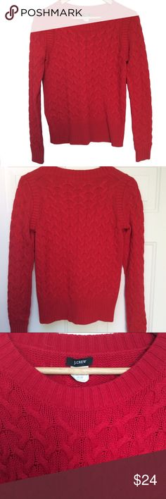 J. Crew Red Honeycomb Sweater Angora blend honeycomb cable sweater in a cherry red color. Good condition! J. Crew Sweaters