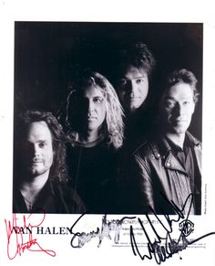 black and white Van Halen promotional photo from the early autographed by all four group members (Michael Anthony, Sammy Hagar, Alex Van Halen and Ed Van Halen 2, Eddy Van Halen, Alex Van Halen, Sammy Hagar, Wolfgang Van Halen, Gary Cherone, Red Rocker, Pandora Radio, David Lee Roth