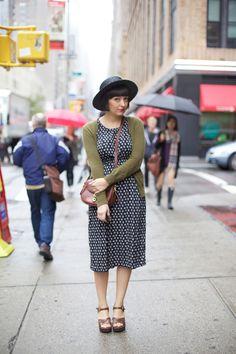 Graphic Print Dress [White on Black] // Moss Green Cardigan // Wide Brim Black Hat // Cognac Crossbody Bag and Wedges