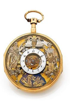 MARTIN MARTINE gold half skeletonized pocket watch. quarter repeating with 3 automatons. c.1820