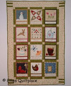 The Embroidered Country Calendar Quilt is a fun project to keep you quilting all year round! This block of the month calendar quilt features a block for each month. You can choose to embroider or applique each quilt block according to your preference Quilting Tutorials, Quilting Projects, Sewing Projects, Quilting Ideas, Diy Projects, Flower Applique, Wool Applique, Snowflake Designs, Quilted Wall Hangings