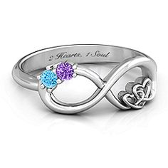 The 'Two Hearts with Stones' Infinity ring - the most perfect promise ring! Add your birthstones and a special engraving! #infinityring #promisering