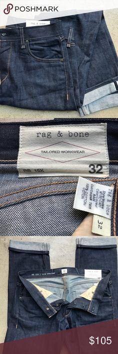 Men's Rag & Bone Denim Jeans Men's slim straight rag & bone white cone denim jeans. RB 15x. Size 32. Worn 3 times. Never washed rag & bone Jeans Slim Straight