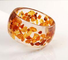 Bracelet, resin, amber