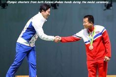 Olympic shooters from both Koreas shakes hands during the medal ceremony. Next meeting at the DMZ. Best Funny Pictures, Cool Pictures, Cool Photos, Random Pictures, Amazing Photos, Weird Facts, Fun Facts, Random Facts, Random Stuff