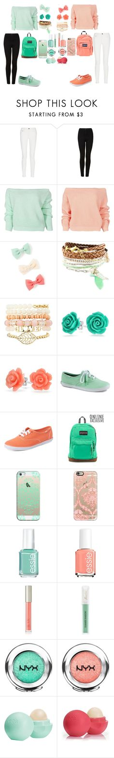 """""""School Twins"""" by pumpkinpie432 ❤ liked on Polyvore featuring Proenza Schouler, Topshop, Boohoo, Domo Beads, Charlotte Russe, Bling Jewelry, Keds, JanSport, Casetify and Essie"""