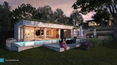 Pool House in Dallas - Kuan Studio / Visualization Modern Pools, 3d Visualization, Architect Design, Pool Designs, Exterior, Mansions, Studio, House Styles, Architects