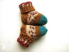 Newborn baby socks salmon olive green and brown by TinyOrchids, $20.00