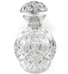 #Crystal Wine #Decanter Clear Cut Star Diamond Star 8in with Stopper Heavy As Is #Unknown