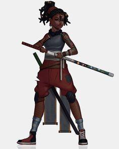 """228 Likes, 9 Comments - Venus Bambisa (@venusbambisa) on Instagram: """"Dread x Mei #characterdesign #conceptart #dreadlocks #samurai #girl #darkskinned #digitalart…"""""""