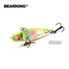 Bearking Fishing tackle Hot model 5pcs/lot  fishing lures hard bait minnow 5mixed colors,  vib(lip less) 40mm 3.8g, sinking