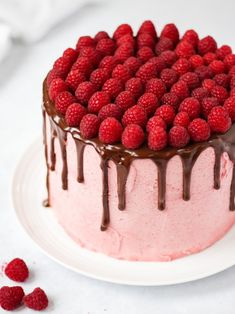 Learn how to make a show stopping Raspberry Cake - Chocolate cake sponge, with raspberry flavour and delicious fluffy raspberry buttercream icing, topped with chocolate ganache and fresh raspberries. The perfect birthday or celebration cake! Raspberry Frosting, Chocolate Raspberry Cake, Chocolate Ganache, Blackberry Cake, Maple Cake, Napoleon Cake, Pear Cake, Gateaux Cake, Cake Boss
