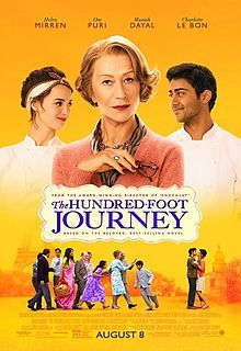 The Hundred Foot Journey (film) poster - film adaptation of Richard C. Morais' novel of same name, about two rival restaurants in the quaint village of Saint-Antonin-Noble-Val in the south of France. One is an Indian restaurant opened by a displaced Indian family. The other is a Michelin starred, classical French restaurant run by Madame Mallory (played by Helen Mirren).