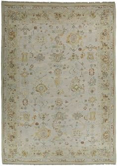 Soften a room with gray, gold, blue, green & brown oushak rug| Pera 3207TG| Asmarainc.com-Ships Free