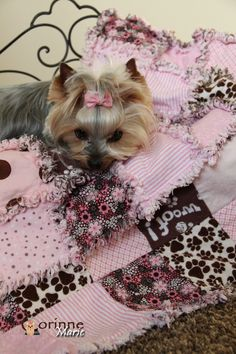 Doggie Scrappy Blanket Pink & Brown WOOF!