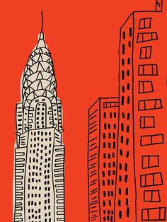 New York illustration  red