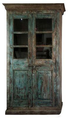 vintaeg reclaimed armoir blue chippy paint~