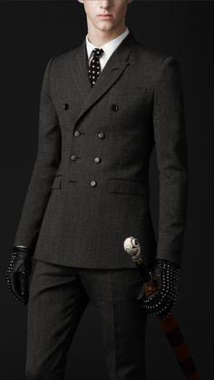Burberry Skinny Fit Double Breasted Herringbone Jacket