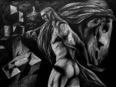 """""""Burden"""" by Clive Hicks-Jenkins, 2000 (Conté pencil on paper)"""