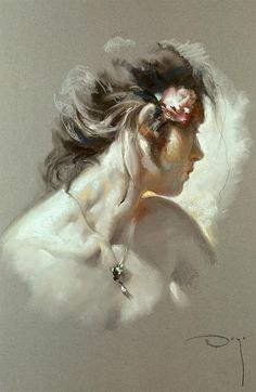 """La Toya"" - Jose Royo (Spanish, b. 1941), oil on canvas, 2003 {figurative #impressionist art beautiful female head shoulders flower woman face portrait profile painting #loveart} Serigraph 1/160 prints available: royoart.com"