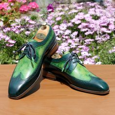Paul Parkman Men's Green Dual Tone Wingtip Derby Shoes Derby Shoes, Natural Leather, Oxford Shoes, Lace Up, Green, Fashion, Moda, Fashion Styles, Fashion Illustrations