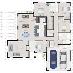 GJ Gardner Homes house designs. House Plans One Story, New House Plans, Dream House Plans, Modern House Plans, Small House Plans, House Floor Plans, Building Plans, Building A House, Craftsman Floor Plans