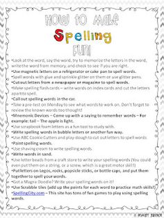 How to Make Spelling Fun Parent Handout - This free handout lists fun and inexpensive ways parents can help their children study their weekly spelling words.  Great for the beginning of the school year!