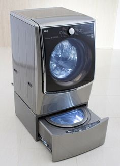 LG's latest washing machine uses a Twin Wash system to clean two loads simultaneously. The machine has a main washer above a smaller washer in the pedestal beneath (pictured). LG said the the mini washer is perfect for items that need specific settings, and it can also be fitted to any of LG's front loading machines